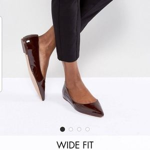 ASOS Espresso Pointed Ballet Flats - Wide Fit